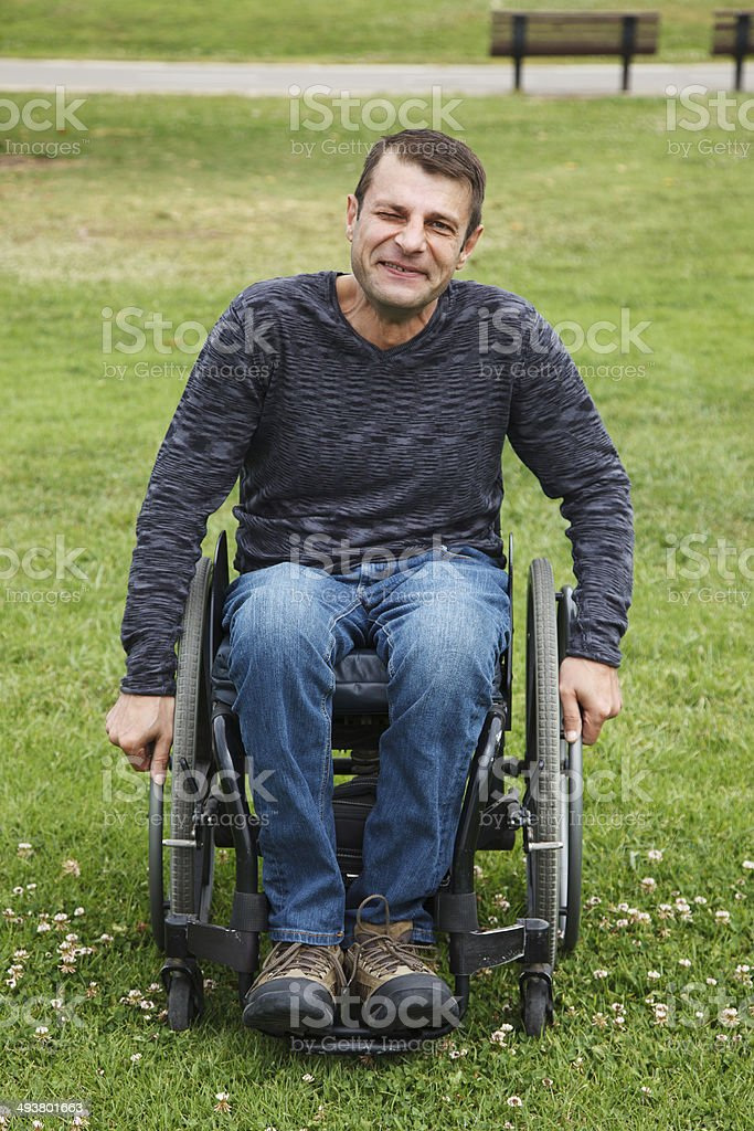 Disabled man in Wheelchair. stock photo