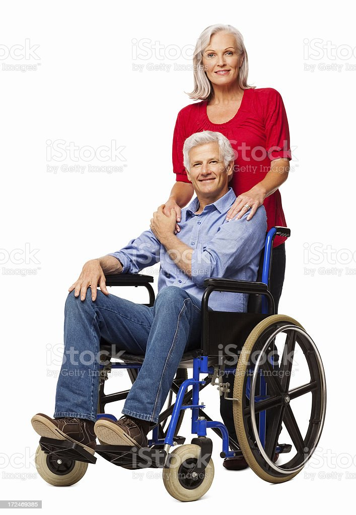 Disabled Man With Woman - Isolated royalty-free stock photo