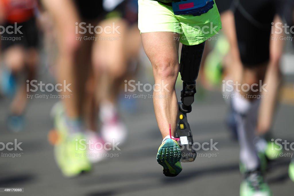 Disabled Marathon Runner stock photo