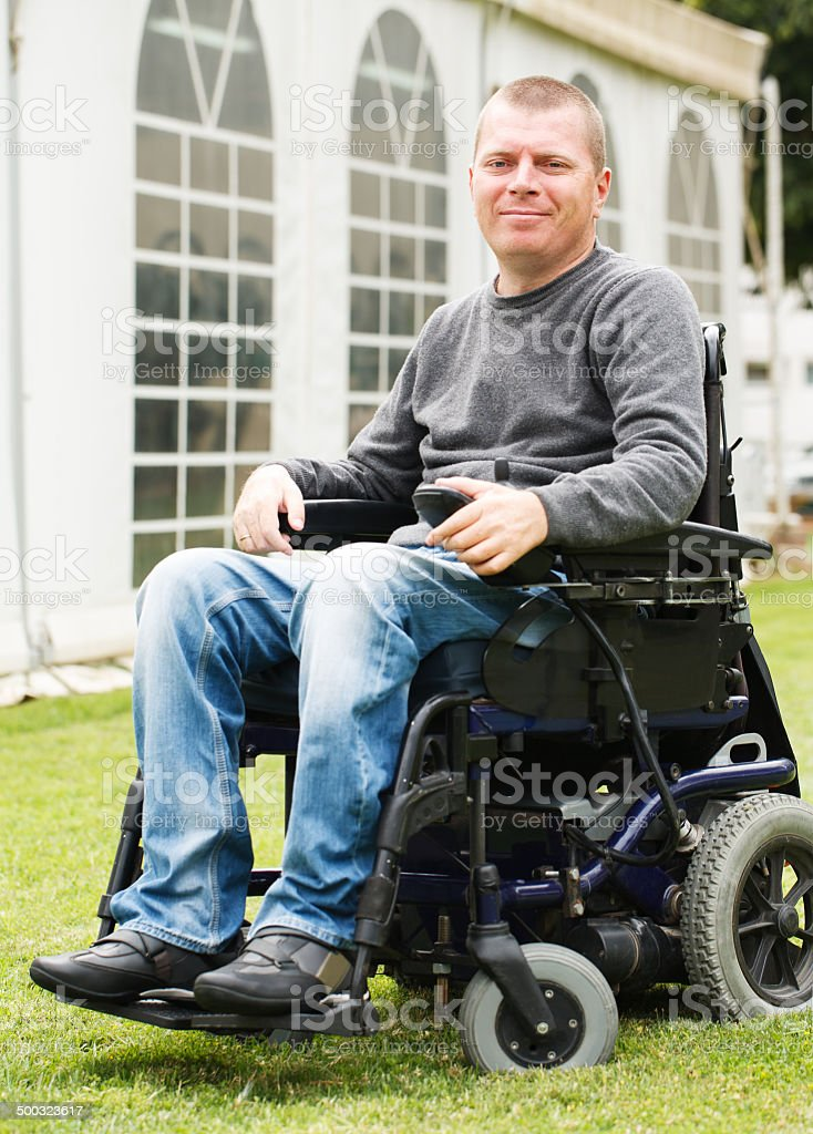 Disabled men in Wheelchair. stock photo