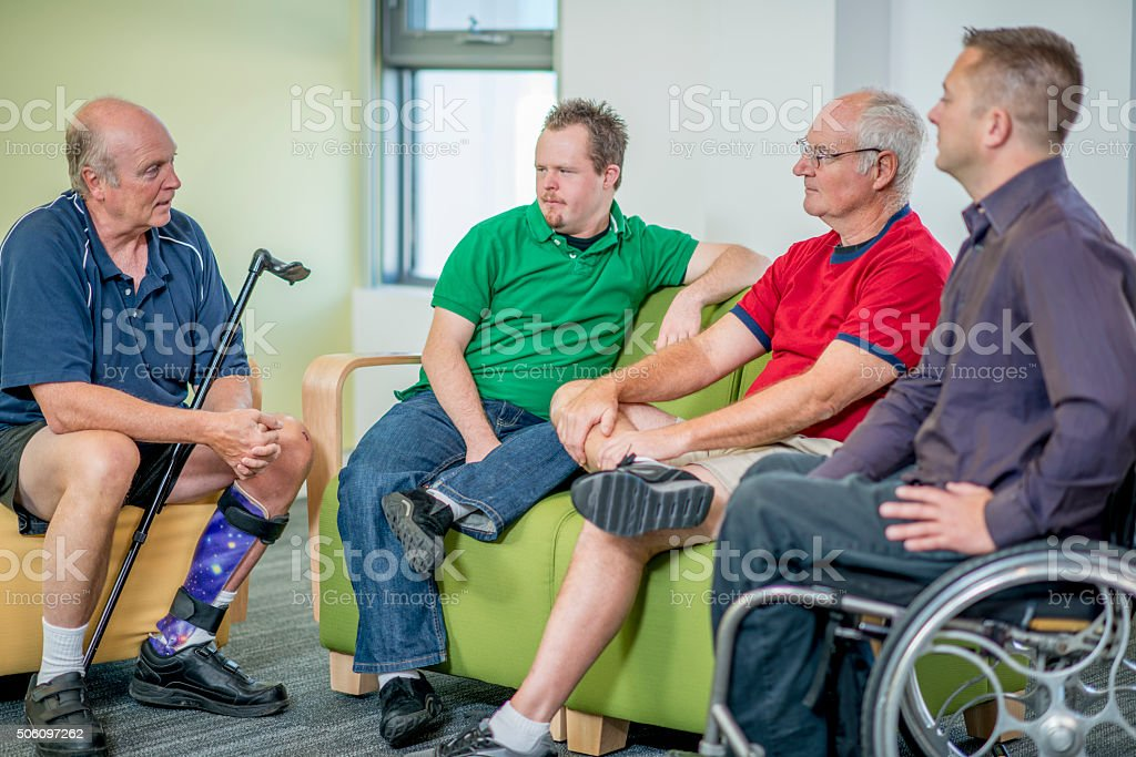 Disabled Men Spending Time Together stock photo