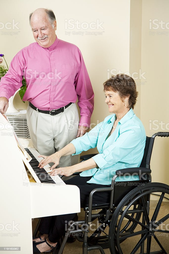 Disabled Pianist royalty-free stock photo