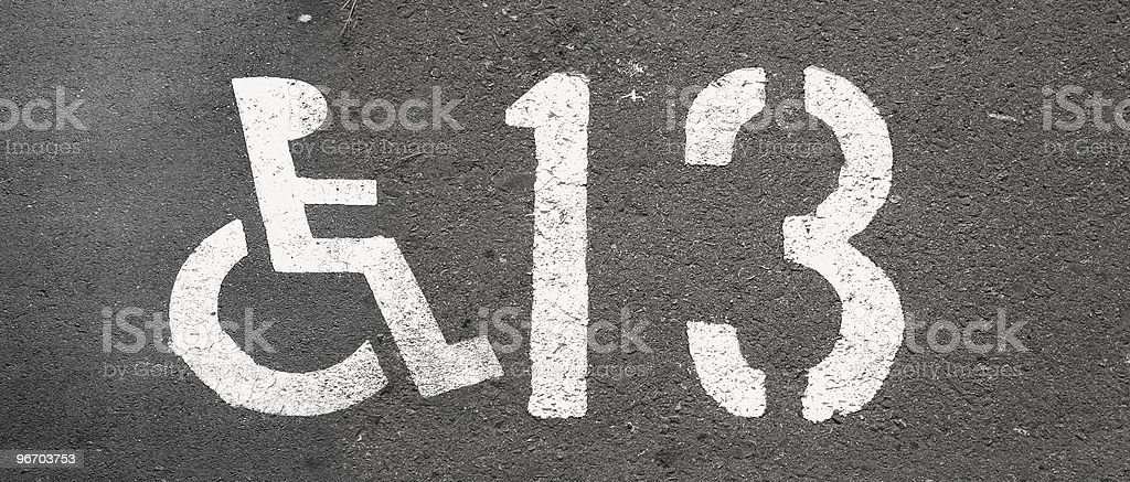 disabled road sign and number royalty-free stock photo
