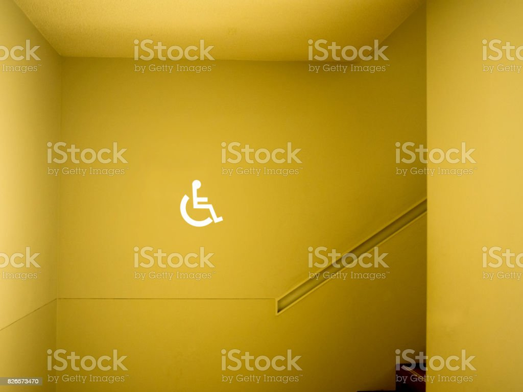 Disabled sign in building stock photo