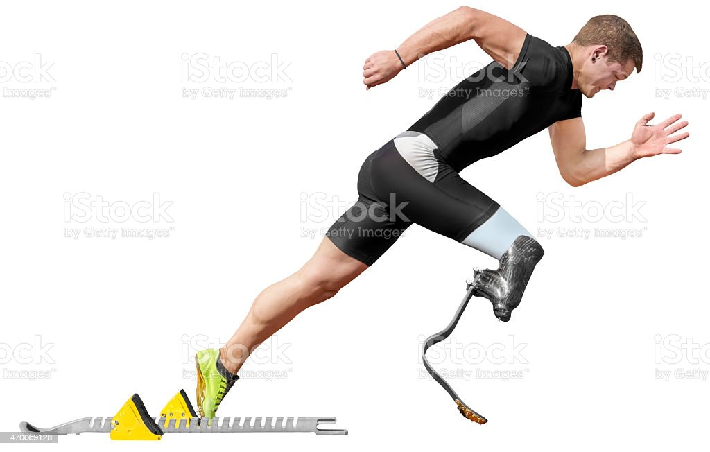 disabled sprinter start block isolated stock photo