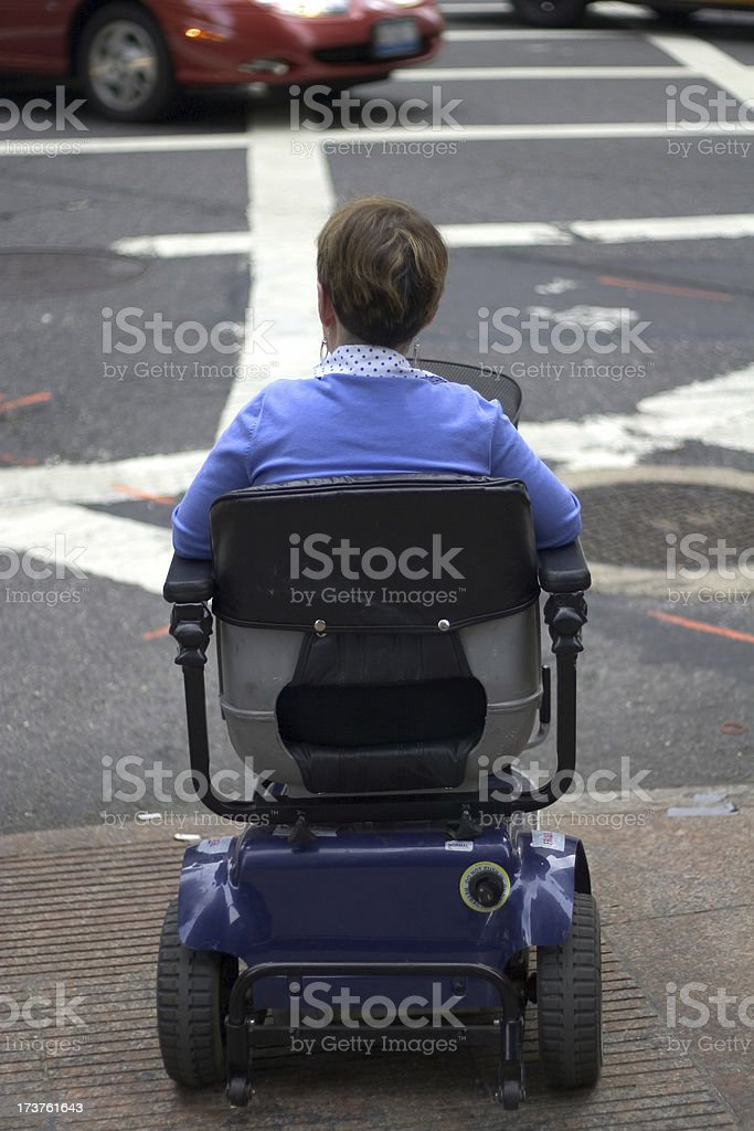 disabled waiting to cross royalty-free stock photo
