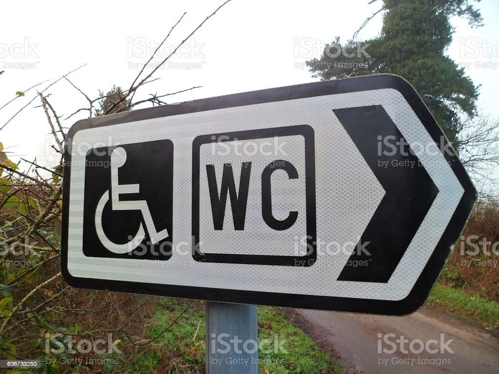 'Disabled WC' road sign stock photo