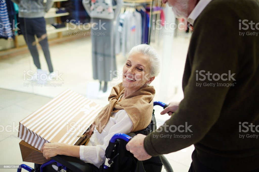 Disabled wife stock photo
