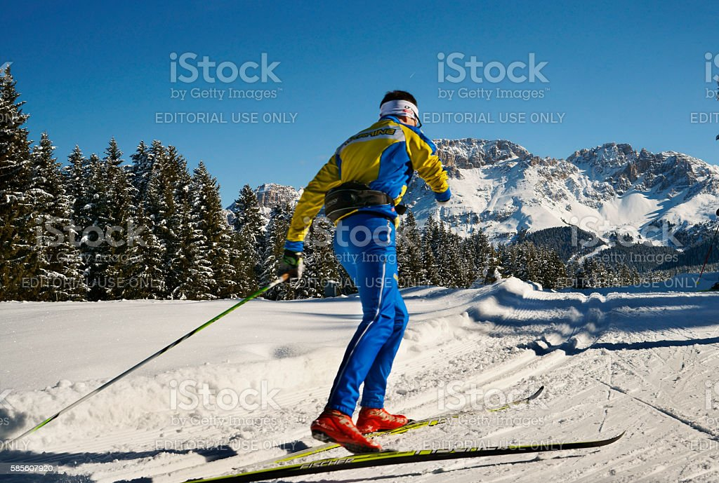 Disabled winter sports athlete skiing in scenic snow covered winter...