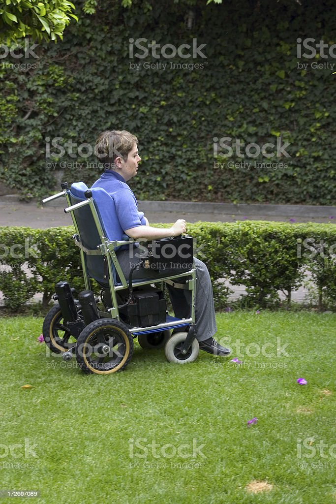 disabled woman in motion stock photo