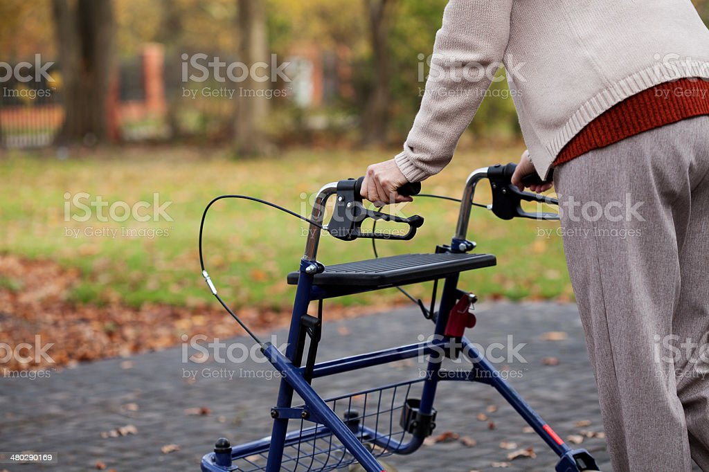 Disabled woman on a walk royalty-free stock photo