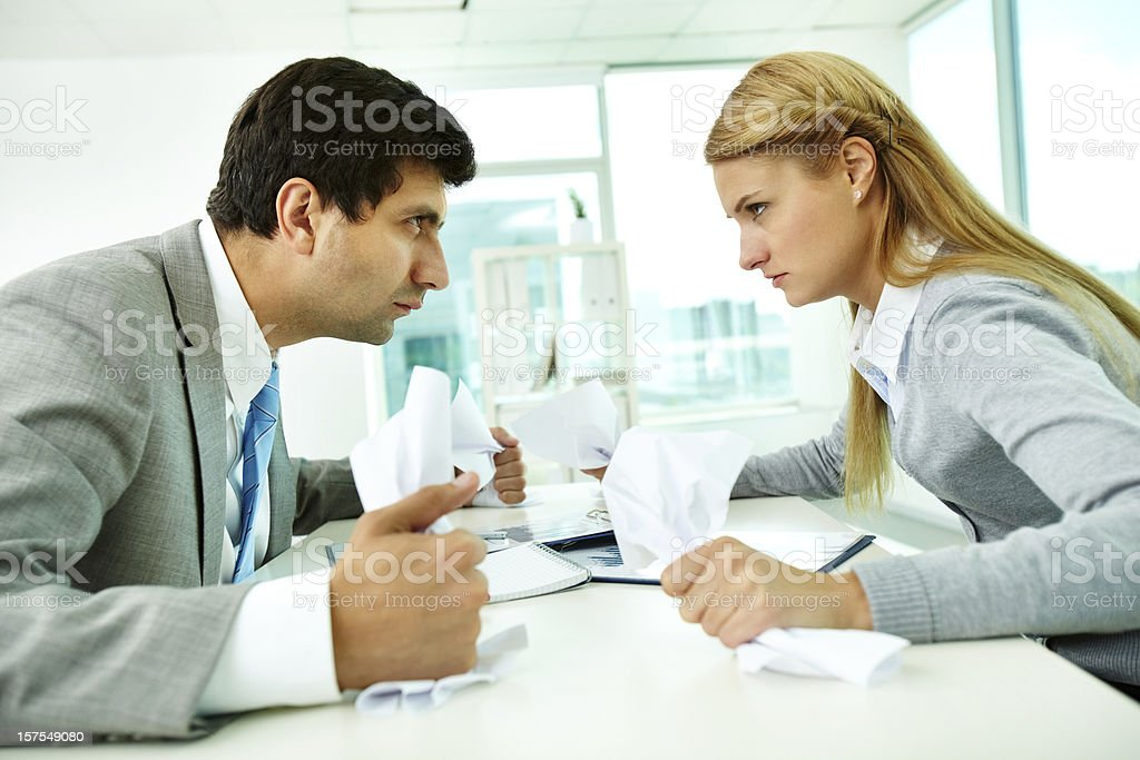 A disagreement between a man and a woman royalty-free stock photo