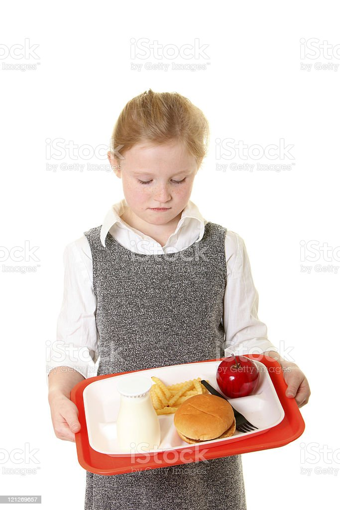 disapointed school girl with lunch royalty-free stock photo