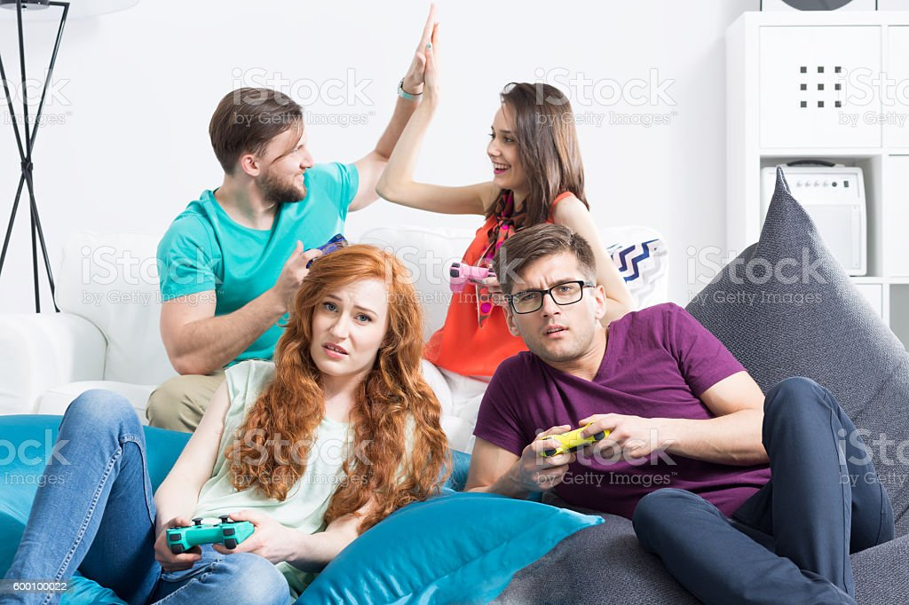 Disappointance on the unexpectedly lost game stock photo