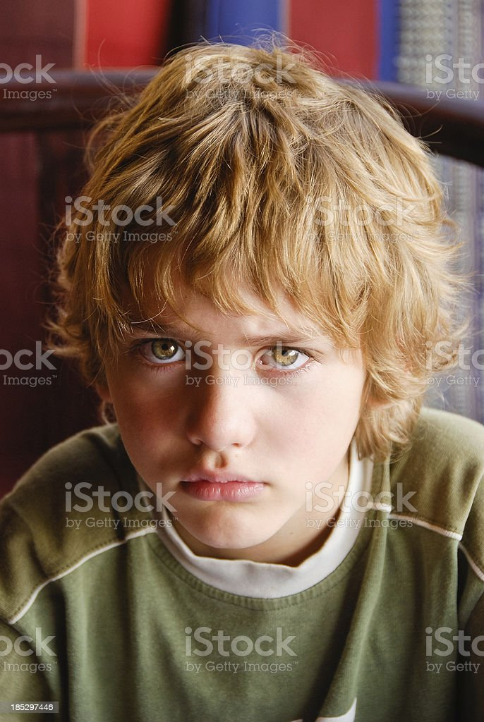 Disappointed boy stock photo