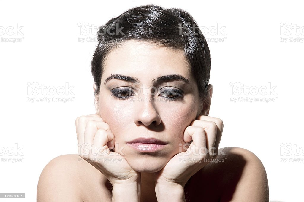 Disappointed woman thinking royalty-free stock photo