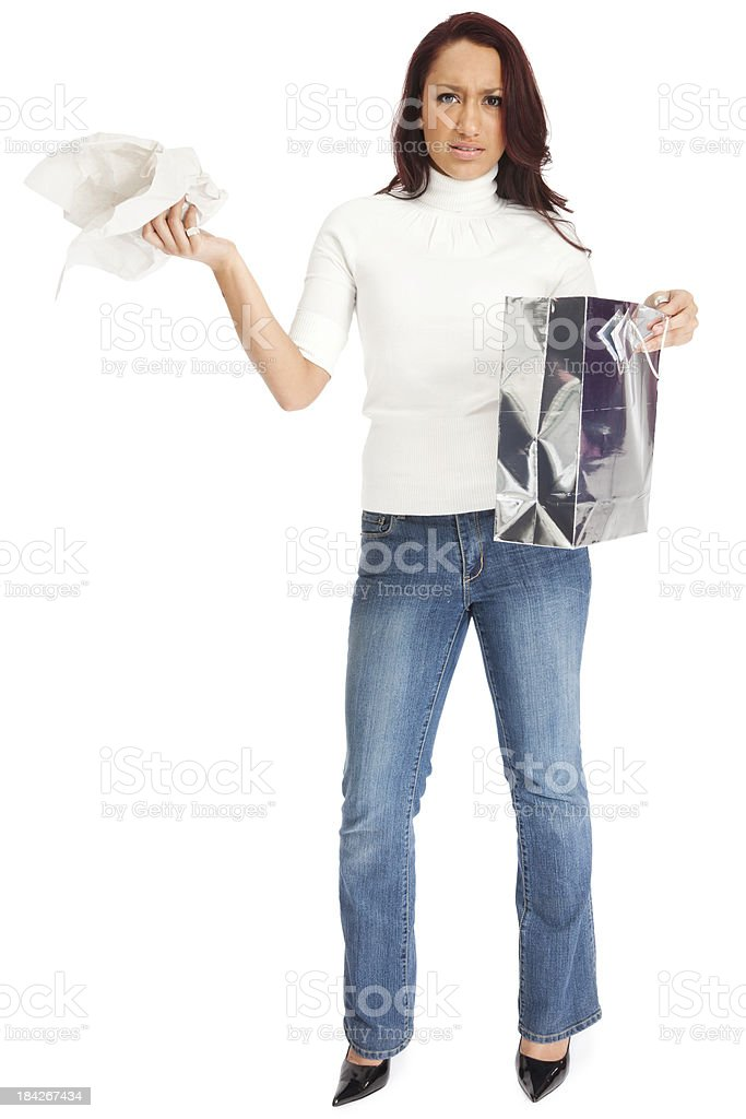 Disappointed Woman with Gift Bag royalty-free stock photo