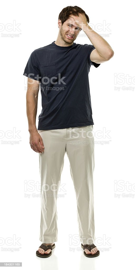 Disappointed Young Man Full Length Portrait stock photo