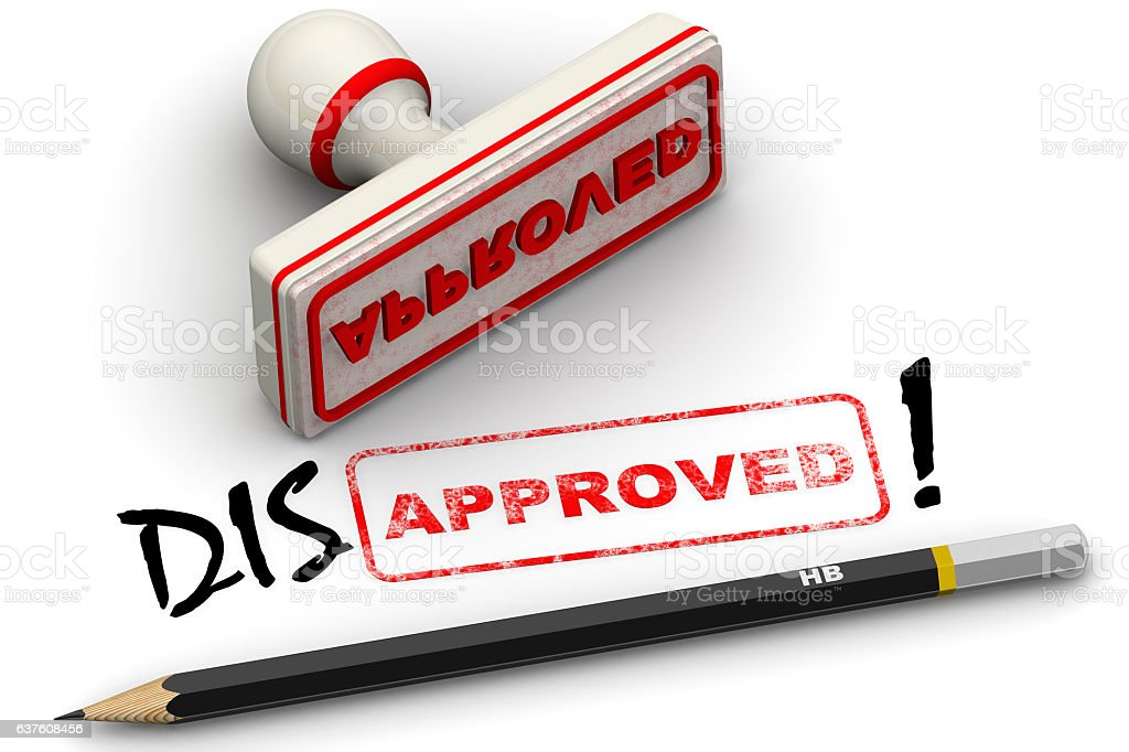 Disapproved! Corrected seal impression stock photo