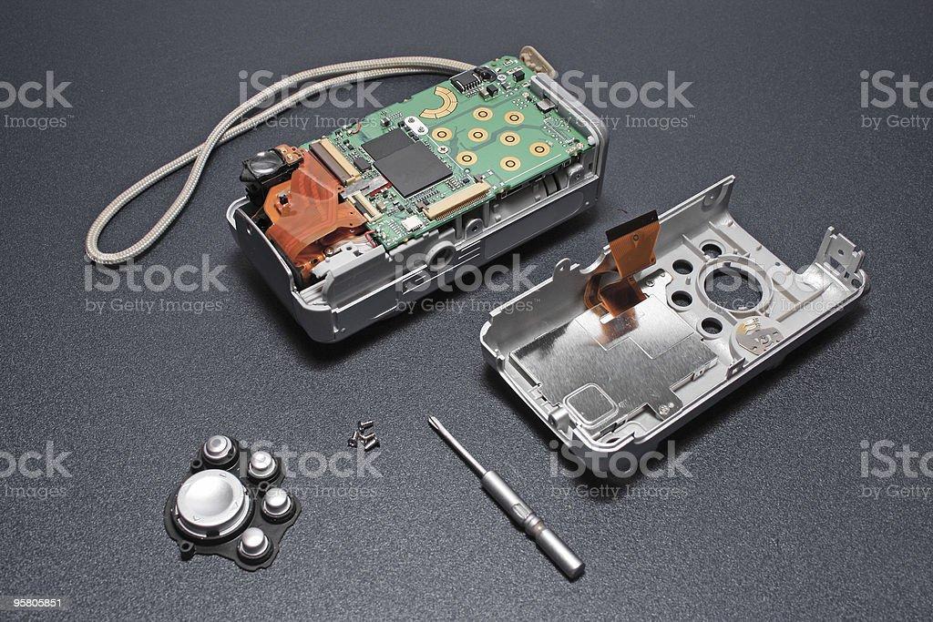 Disassembled camera. stock photo
