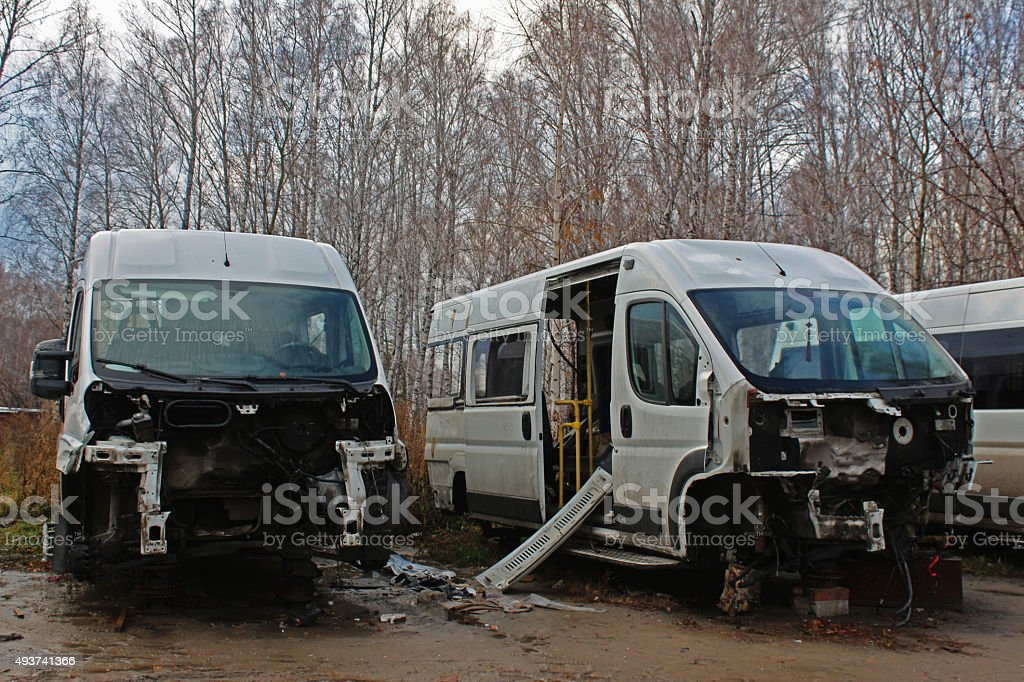 Disassembled cars after the accident stock photo