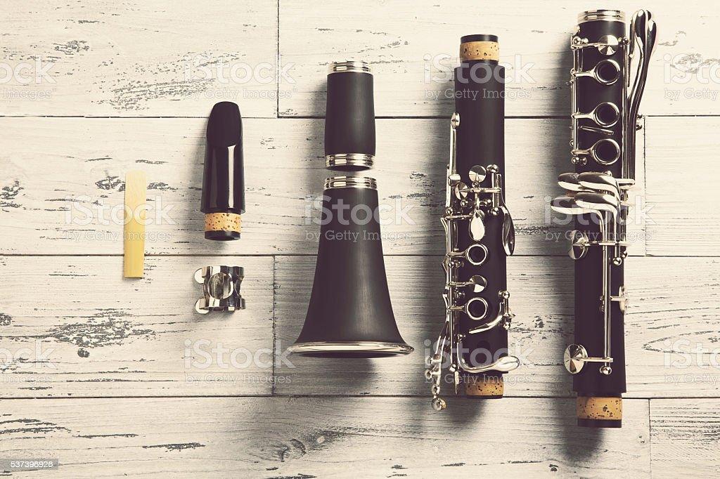 disassembled clarinet stock photo