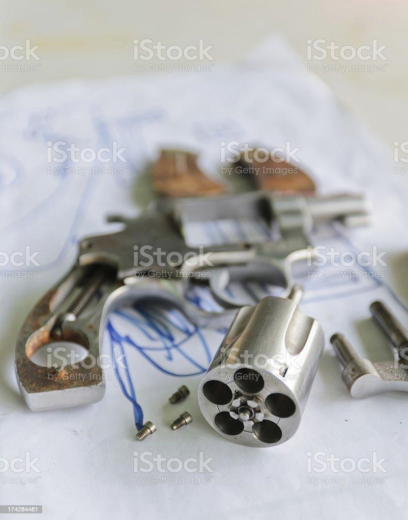 Disassembled gun royalty-free stock photo