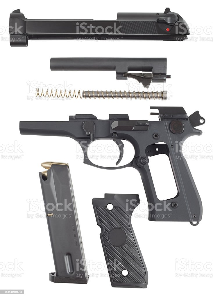 disassembled handgun royalty-free stock photo
