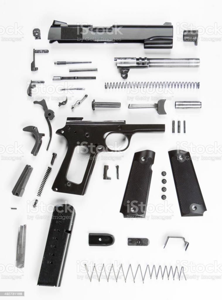 Disassembled Handgun stock photo