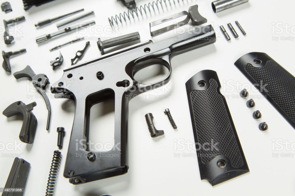 Disassembled Handgun stock photo