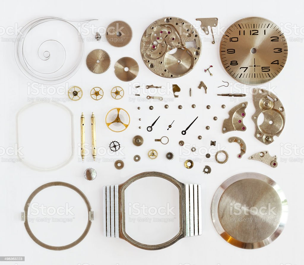 disassembled mechanical watches stock photo