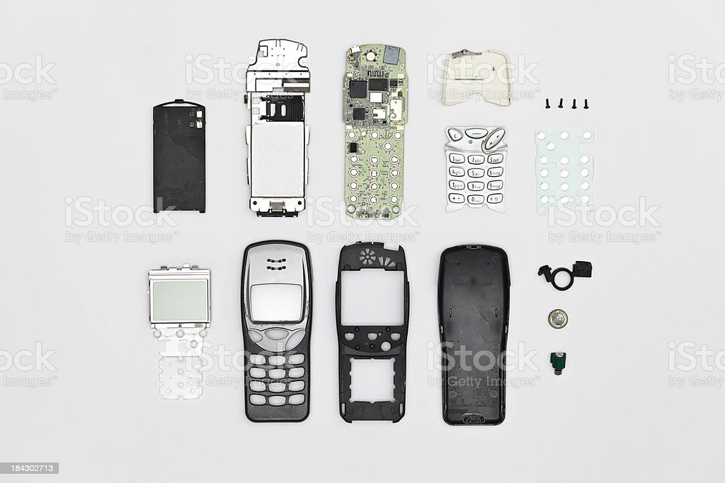 Disassembled mobile phone stock photo