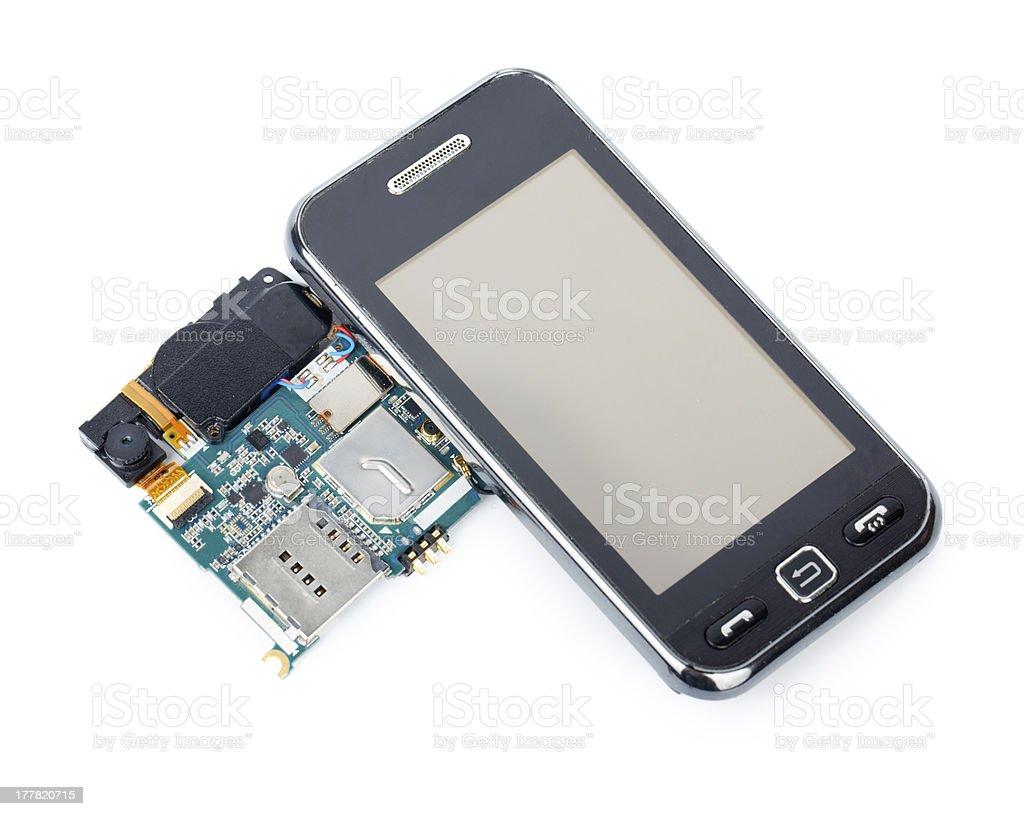 Disassembled phone stock photo