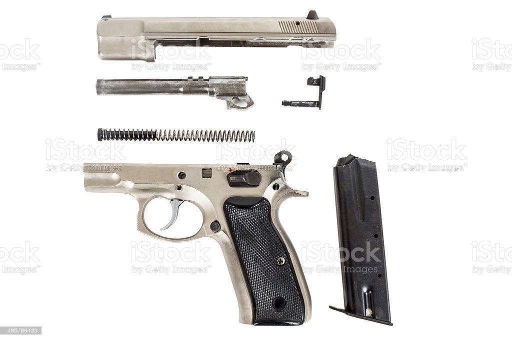 disassembled Semi-automatic gun stock photo