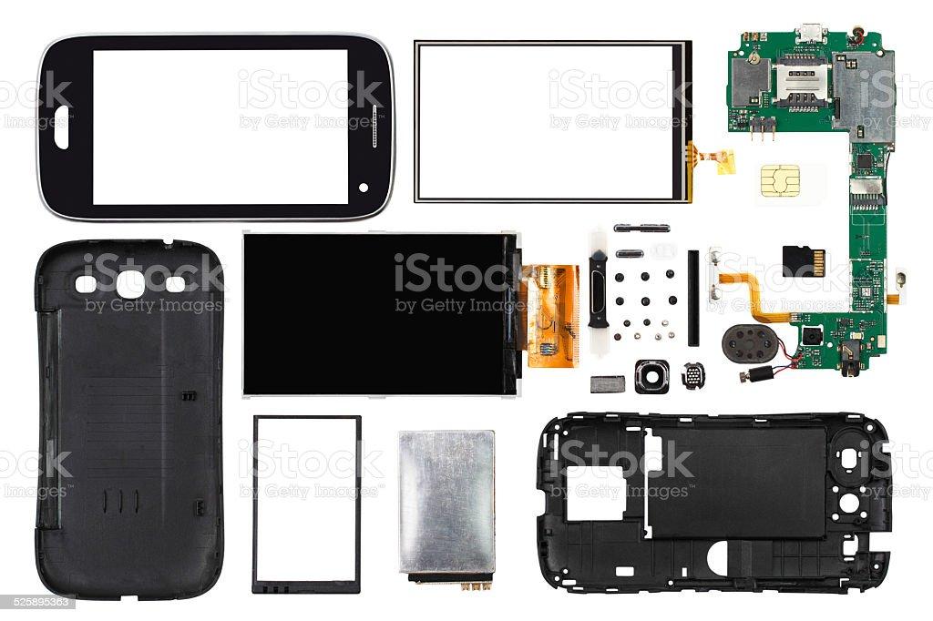 disassembled smartphone isolated on white background stock photo