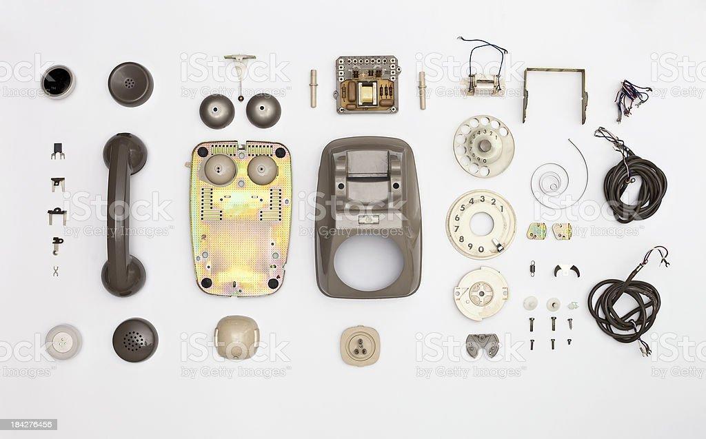 Disassembled vintage phone stock photo