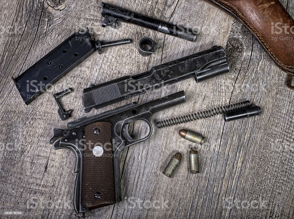 disassembled weapon stock photo