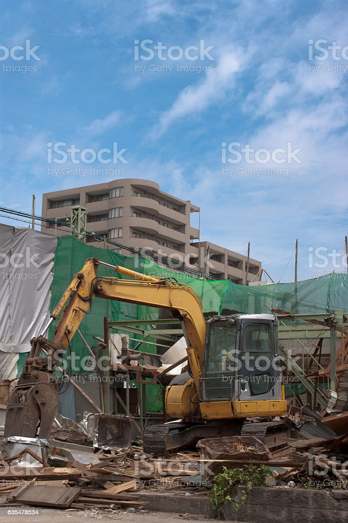 Disassembly construction site in Japan. stock photo