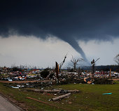 Disaster area with tornado
