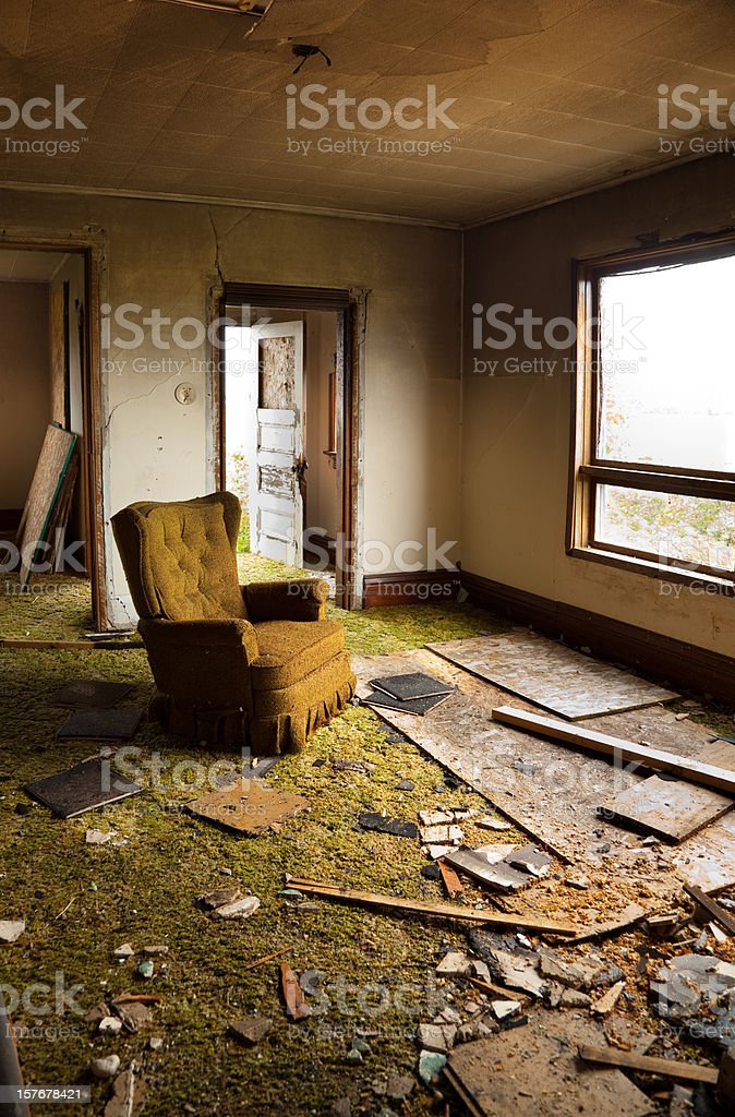 Disaster Damaged, Destroyed Home royalty-free stock photo