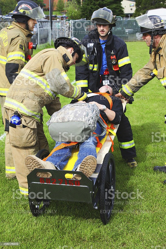 Disaster Drill Gurney Cart Injured Check royalty-free stock photo