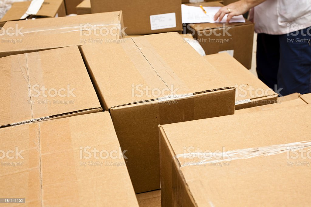 Disaster, emergency relief or moving boxes. stock photo