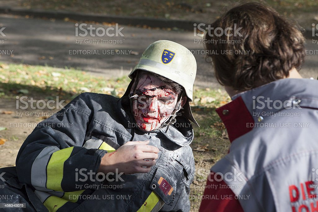 Disaster management exercise, mass-casualty incident. stock photo
