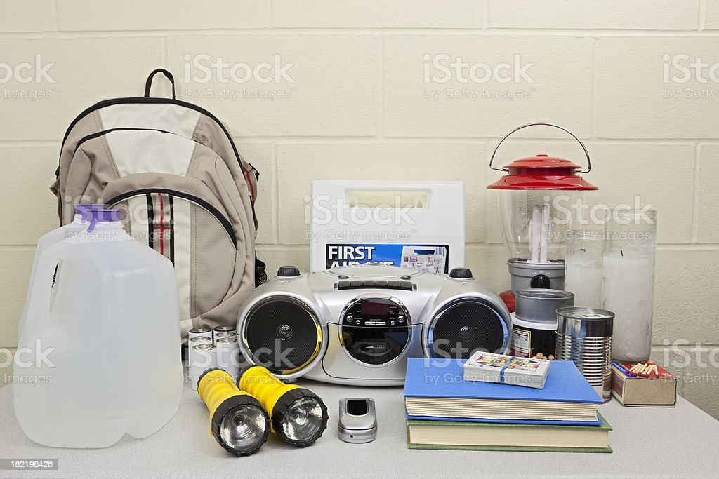 Disaster or Blackout Emergency Supplies stock photo