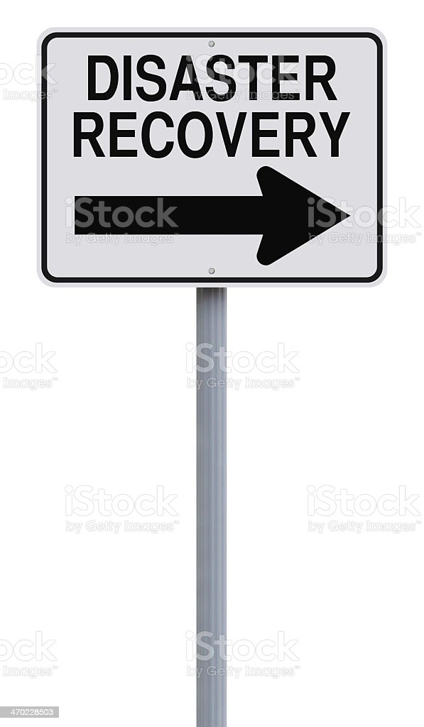 A disaster recovery sign with an arrow pointing to the right stock photo