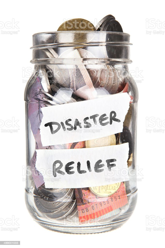 Disaster Relief - Australian money in a jar stock photo