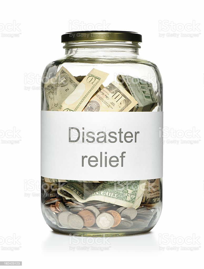 Disaster relief donation stock photo