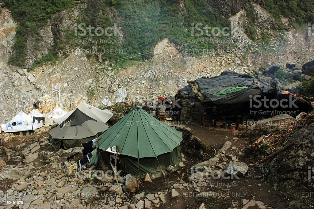 Disaster relief force huts on Kedarnath trek route stock photo