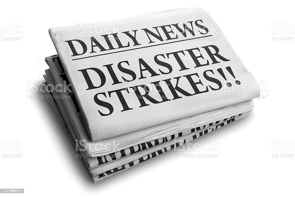 Disaster strikes daily newspaper headline royalty-free stock photo