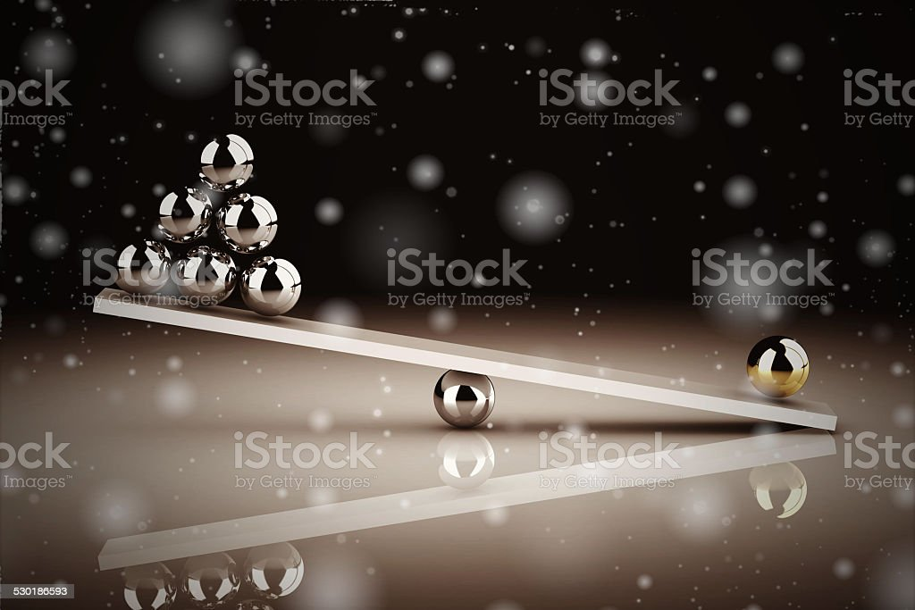 disbalance on white background (high resolution 3D image) stock photo